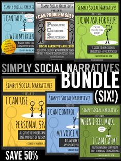 SIMPLY SOCIAL NARRATIVES BUNDLE***SAVE 50% by purchasing the Simply Social Narratives BUNDLE! The Bundle includes: I Can Ask For Help! I Can Talk With My Friends! I Can Use Personal Space! I Can Control My Voice Volume! When I Feel Mad, I Can Calm! and I Can Problem Solve!