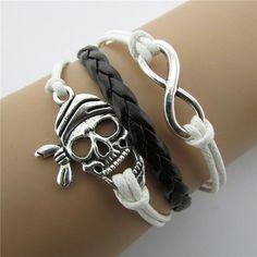 Joker Skulls Number 8 Multi-layer Leather Cord Bracelet