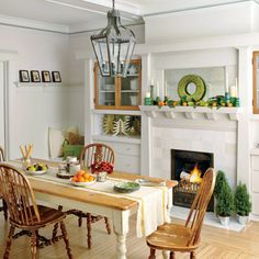 DIY touches, from a textured table runner to turned wood candlesticks, lend this spirited eating area welcome warmth