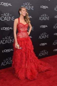 Blake Looked Ravishing in a Red Monique Lhuillier Dress Made of Leather and Lace