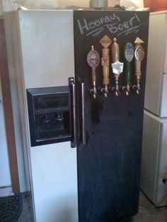 Bb on pinterest hops trellis homebrewing and beer for Home bar with kegerator space