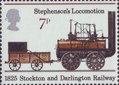 150th Anniversary of Public Railways 7p Stamp (1975) Stephenson's Locomotion, 1825