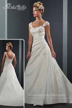 Satin, princess wedding bridal gown with square neckline, off-the-shoulder sleeves, and chapel train. Embellished with beading bodice, sleeve and back detail and ruching at asymmetrical waist line. Three-quarter sleeve bolero included with ruched sleeve and ruffle.