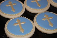 Blue and Gold Cross  Cookies - One Dozen Decorated Sugar Cookies. $42.00, via Etsy.