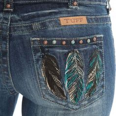 SOOO want these!!  Cowgirl Tuff Women's Fly Free Turq & Brown Feather Pocket Bootcut Jeans #CowgirlTuff #BootCut