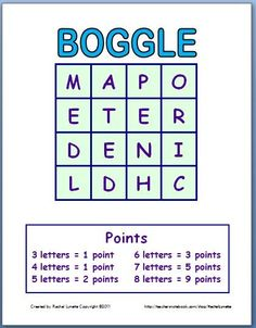 Use these two Boggle templates again and again just by changing the letters. There are two versions, one for the document camera and one...