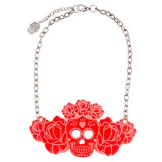 Our Sugar skull queen crowned in glory. The ultimate chest piece for traditional tattoo enthusiasts. Queen Crown, Chest Piece, Traditional Tattoo, Sugar Skull, Jewels, Chain, Tattoos, Silver, Red