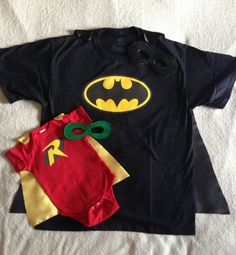 New Dad Gift Set or New Big Brother, Batman and Robin T-Shirt with Cape and Superhero Baby Outfit with Cape, Father Son Super Hero Costume