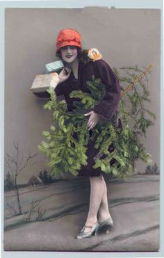 Vintage 1920's Christmas, colorized