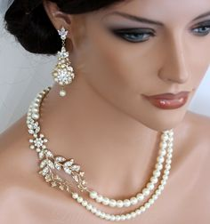 Wedding Bridal Accessories: Pearl Necklace And Pearl Earring Set For Bridesmaids