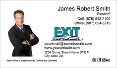 White Large Size Photo Exit Realty Business Cards