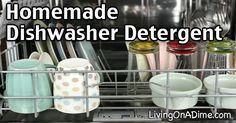 (2) Ingredient Homemade Dishwasher Detergent Recipe:  mix 1-cup baking soda + 1-cup Borax + 2 drops of scented oil (optional) & use as you would with any other detergent.