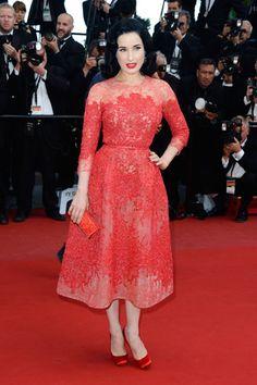 Dita Von Teese at Cannes Film Festival wearing Elie Saab.