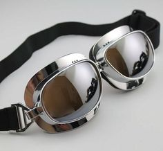 "Aviator Pilot Cruiser Motorcycle Scooter ATV Goggle Eyewear T04 Silver Lens Haha - description from ebay seller: ""Sponge Frame can be safely cling to face. Adjustable non-slip and common high elastic strap; can be adapted to any size of head."""
