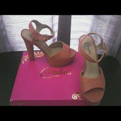 Candie's Heels Coral color 6 in. heels. Faux suede. Never worn. Candie's Shoes