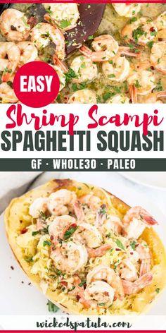 Paleo Spaghetti Squash Shrimp Scampi Recipe Shrimp Scampi Spaghetti Squash Boats – These Paleo Shrimp Scampi Spaghetti Squash Boats are absolutely delicious and packed with flavor. Spaghetti Squash Shrimp Scampi, Whole 30 Spaghetti Squash, Shrimp Pasta, Grilled Shrimp Recipes, Seafood Recipes, Paleo Recipes, Free Recipes, Whole30 Shrimp Recipes, Shrimp And Squash Recipe