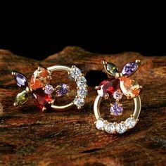 Stud earrings Flower CZ earrings diamond earrings zircon classic Korean anti-allergic jewelry design women Jewelry Earrings