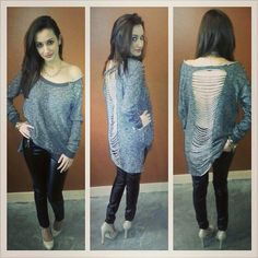 'Vo Jeans' Leather Pants and 'Hommage' Open-Back Hi-Low Sweater ~ Apricot Lane Boutique South Florida