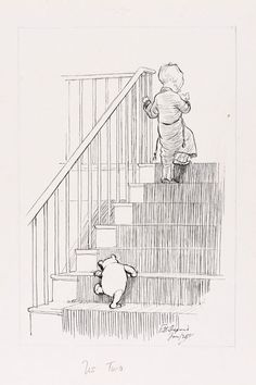 E H Shepard - illustration for Winnie the Pooh. Awww, pooh is so little :) Winnie The Pooh Friends, Children's Book Illustration, Illustration Flower, Tigger, Eeyore, Fairy Tales, Sketches, Bear, Drawings