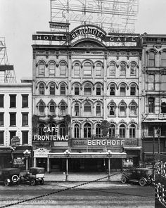 Monroe Avenue, Detroit c. 1915 -  In late 1880s, the building was converted into a 52-room hotel, known first as the Stanwix, then as Gies' European hotel, with a restaurant on the first floor. In 1909, the hotel and restaurant was renamed the Berghoff, then the Tuxedo, and, in 1919, the Frontenac.