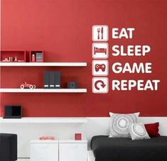 Eat Sleep Game Repeat | Vinyl Wall Lettering | Video Gamer Decal