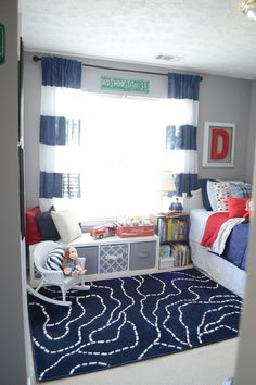 Playroom; Navy and red boys Bedroom