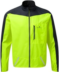 Extra breathable, lightweight, high viz Ronhill Stride Wind Jacket compatible with the Ronhill Extra Bright LED light button. Wind Jacket, Running Jacket, Apparel Design, Workout Tops, Snug Fit, Adidas Jacket, Motorcycle Jacket, Safety, Design Reference
