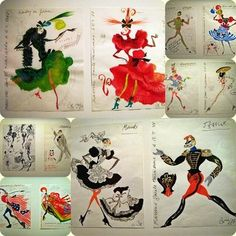 Christian Lacroix fashion sketches