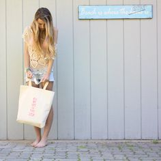 All We See Is The Sea neon pink hand screened tote  by TenThings on Etsy.