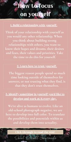 Learn how to focus on yourself with these great tips! Learn self-love, build your confidence and be happy. Click through to read more. Focus On Yourself, How To Better Yourself, Chakra, Self Care Activities, Negative Thoughts, Positive Thoughts, Self Improvement Tips, Emotional Healing, Self Discovery