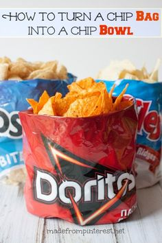 How to turn a chip bag into a chip bowl - your friends will think you learned some tricky origami. It will be our little secret how easy it is!