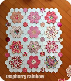 Pink hexie quilt | October 2012. Blogged: www.raspberryrainb… | Flickr