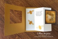 open view of a  fancy fold card from creatingwithcolleen.stampinup.net ... tri-fold insert has the main image for the front ... clever creation! .... bee theme including honey colored cardstock ... Stampin' Up!