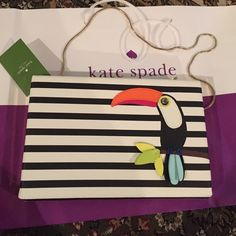 """Kate Spade Clutch Toucan Emmanuelle Montigo Ave. Kate Spade Clutch Toucan Emmanuelle Montigo Avenue Adorable Kate Spade Toucan Emanuelle Convertible Clutch/Shoulder Bag Montigo Avenue 9""""x 6""""x1"""" Interior center zip compartment Colorful 3-D Toucan sits atop graphic black and white stripe background Light gold hardware and tuck away snake chain kate spade Bags Clutches & Wristlets"""