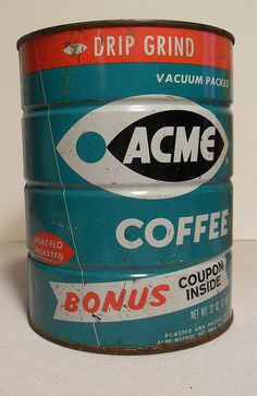 ACME Ideal Supermarkets Vintage 1960s Coffee Can