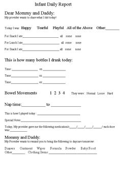 Daily Reports ~ Printable Forms for infants, toddlers ...