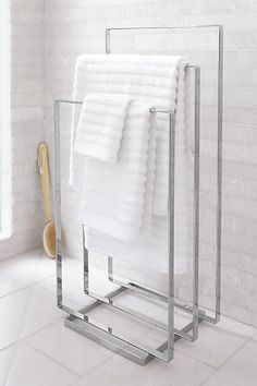 Bathroom, Fascinating Small Bathroom Interior With Impressive Decoration White Marble Stainless Steel Towel Hanger Tile Wall Brush Glass Window ~ Small Bathroom design with Impressive Decoration ideas Towel Holder Bathroom, Bathroom Towels, Bathroom Storage, Small Bathroom, Bathroom Colors, Shower Storage, Towel Holders, Neutral Bathroom, Bathroom Furniture