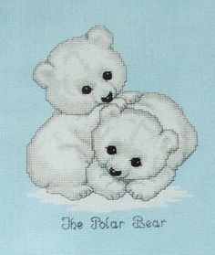 New Cross Stitch Kit THE POLAR BEAR Janlynn 1992 Unopened, Endangered Young'uns, Baby Bears, Gloria & Pat Design, Ruth Morehead - Free Ship Cross Stitch Love, Cross Stitch Needles, Cross Stitch Animals, Cross Stitch Designs, Cross Stitch Patterns, Cross Stitching, Cross Stitch Embroidery, Rag Quilt Patterns, Stuffed Animal Patterns