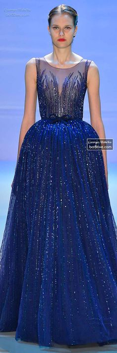 DesertRose,;,Monet's Midnight Stroll by Georges Hobeika FW 2014-15 Couture,;,