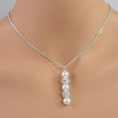 White Pearl, Pave Crystal Ball, Sterling Silver Bridal Necklace