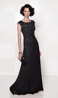 Cameron Blake 114657 Illusion Cap Sleeve Mother of the Bride Dress image