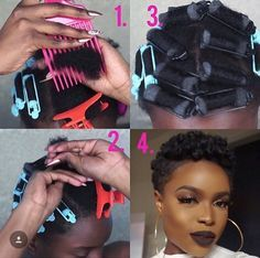 Easy Roller Set Style For Your TWA by - Black Hair Information Community Tapered Natural Hair, Natural Hair Tips, Natural Hair Journey, Roller Set Natural Hair, Hair Dos, My Hair, Short Natural Styles, Short Styles, Twa Styles