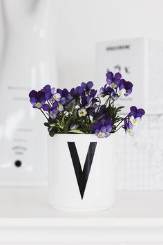 TREND - VIOLET Design Letters cup with typography by Arne Jacobsen. Letter Mugs, Lettering Design, Design Letters, Sweet Violets, Pillow Quotes, Creative Inspiration, Garden Inspiration, Pansies, Custom Pillows
