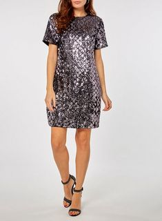 **Purple Diamond Sequin Embellished Shift Dress - View All Clothing - Clothing - Dorothy Perkins Latest Fashion Dresses, Latest Dress, Purple Diamond, Short Sleeve Dresses, Sequins, Carousel, Shirt Dress, Model, Dress Styles