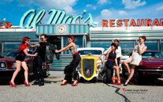 Pinup/hotrod shoot for cover of Motorhead Magazine, Al Mac's Diner, Fall River, Ma #pinup #hotrod #diner