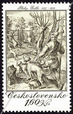 ČSR post stamp Philip Galle: Lov na jeleny, mědiryt, 1578