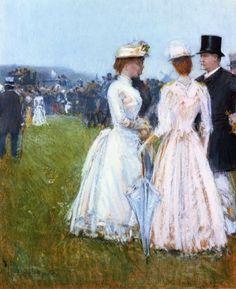At the Grand Prix in Paris - Childe Hassam  1887