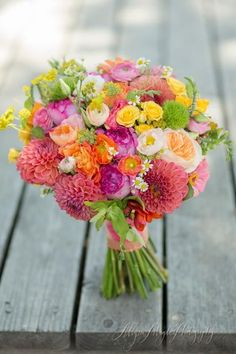 Wedding Flower Arrangements Bridal Bouquets and Wedding Flowers: Pink, Yellow and Green Bouquet - Looking for destination wedding bouquet inspiration? Check out our collection of 150 stunning bridal bouquets. Summer Wedding Bouquets, Bride Bouquets, Flower Bouquet Wedding, Floral Wedding, Wedding Colors, Flower Bouquets, Boho Wedding, Fall Wedding, October Wedding
