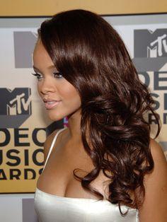 Rihanna dark red hair color