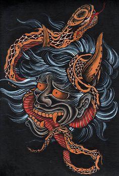 Scorned by Clark North Blue Asian Devil Serpent Tattoo Artwork Print
